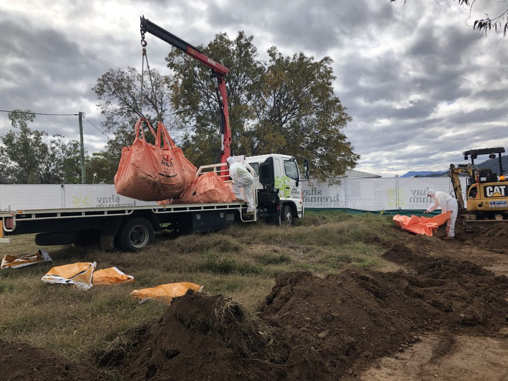Asbestos in soil remediation including off site disposal