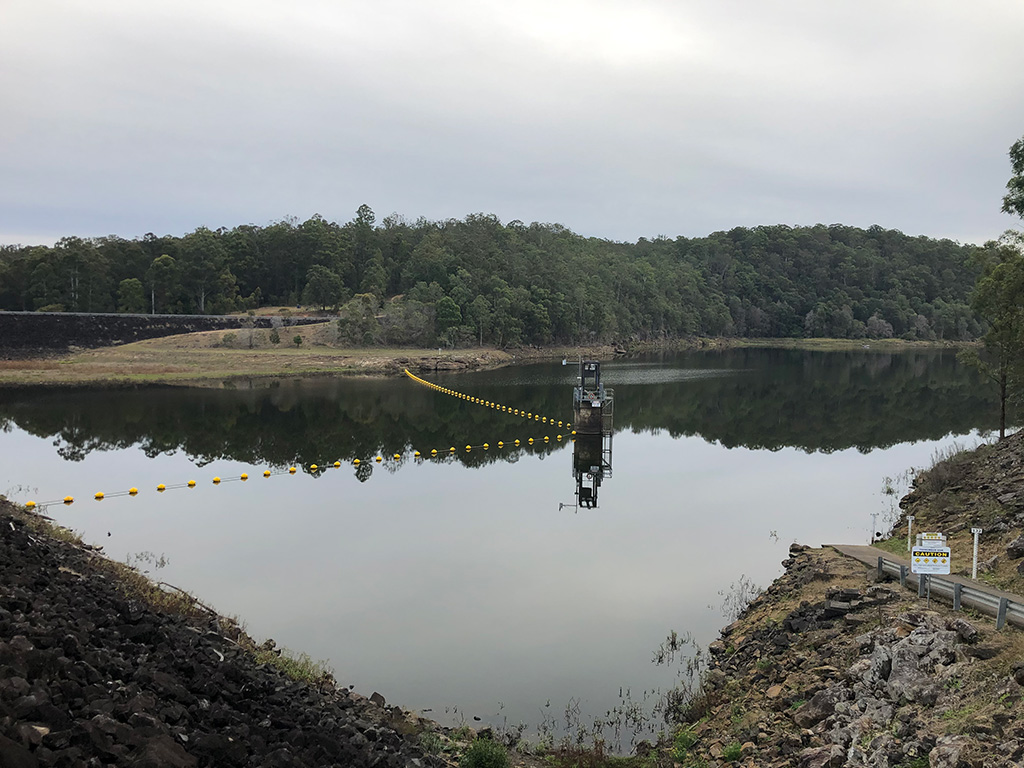 Water quality testing at Toonumbah Dam near Kyogle, New South Wales.