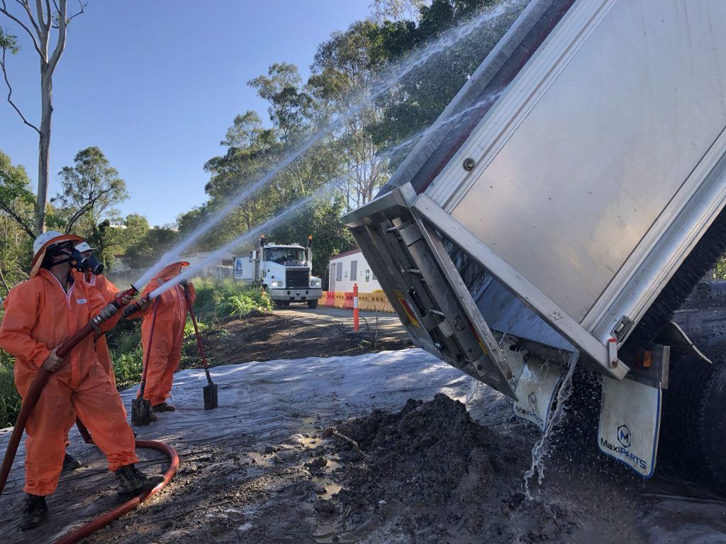 Decontamination of a truck in Sydney